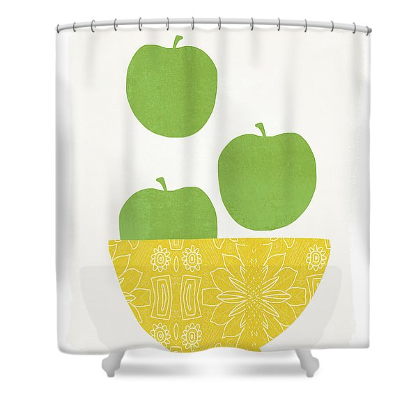 Bowl Of Green Apples- Art By Linda Woods Shower Curtain