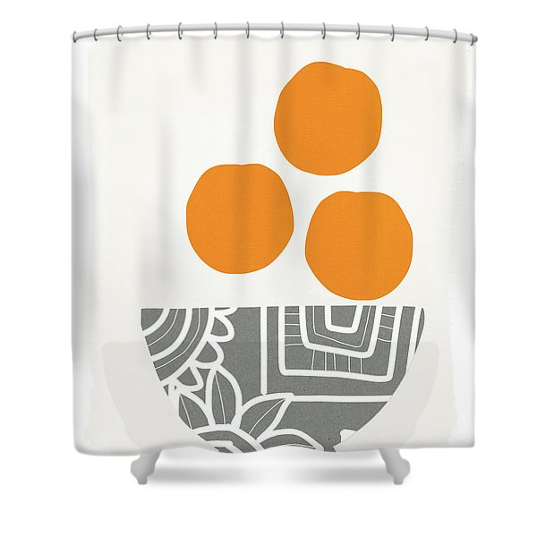 Bowl Of Oranges- Art By Linda Woods Shower Curtain