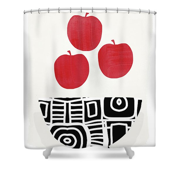 Bowl Of Red Apples- Art By Linda Woods Shower Curtain