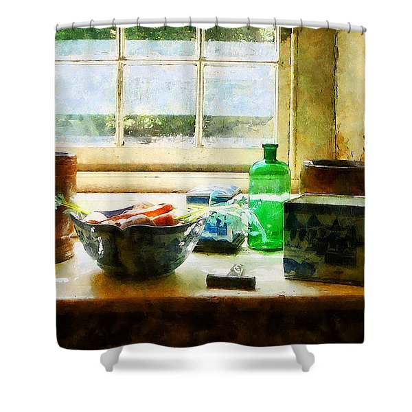 Bowl Of Vegetables And Green Bottle Shower Curtain