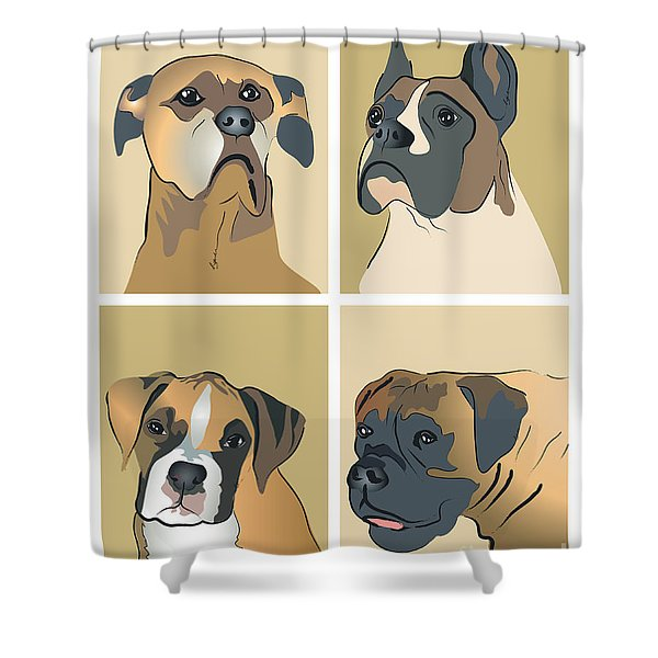 Boxer Dogs 4 Up Shower Curtain
