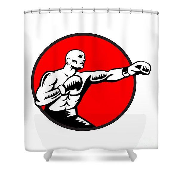 Boxer Jabbing Punching Circle Woodcut Shower Curtain