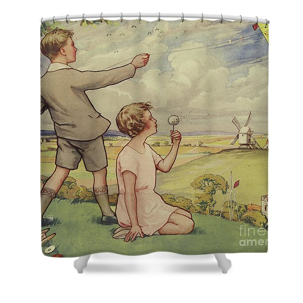 Boy And Girl Flying A Kite Shower Curtain