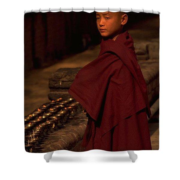 Boy Buddhist In Bodh Gaya Shower Curtain