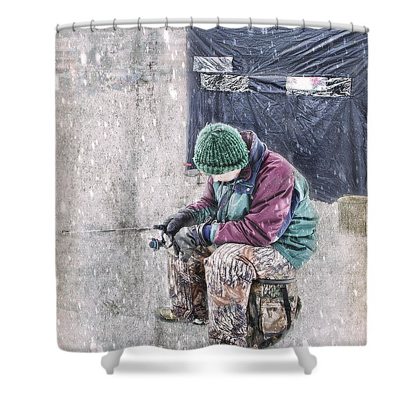 Boy Ice Fishing  Shower Curtain