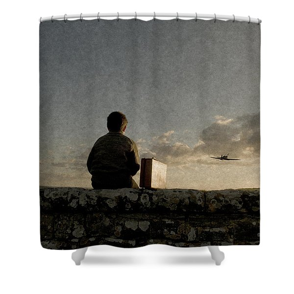 Boy On Wall Shower Curtain