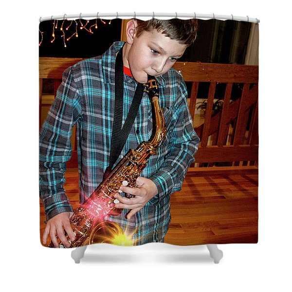 Boy Playing The Saxophone Shower Curtain