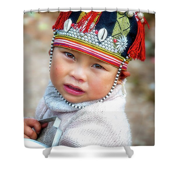 Boy With A Red Cap. Shower Curtain