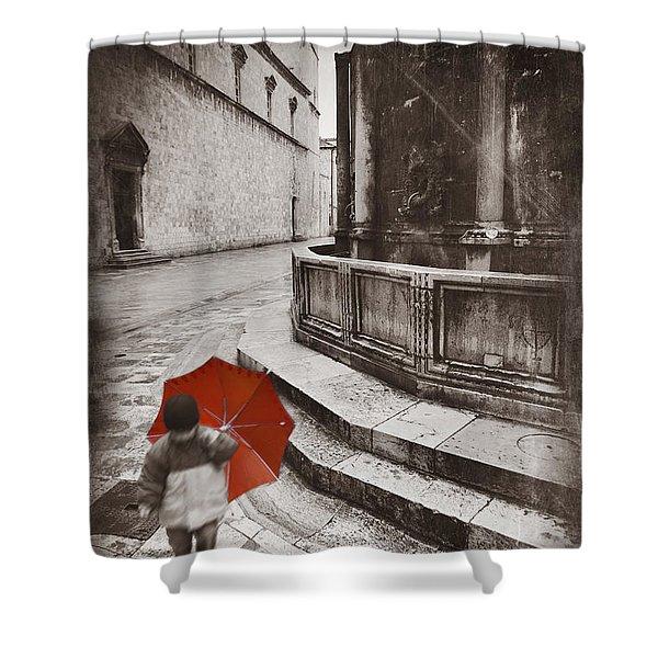 Boy With Umbrella Shower Curtain