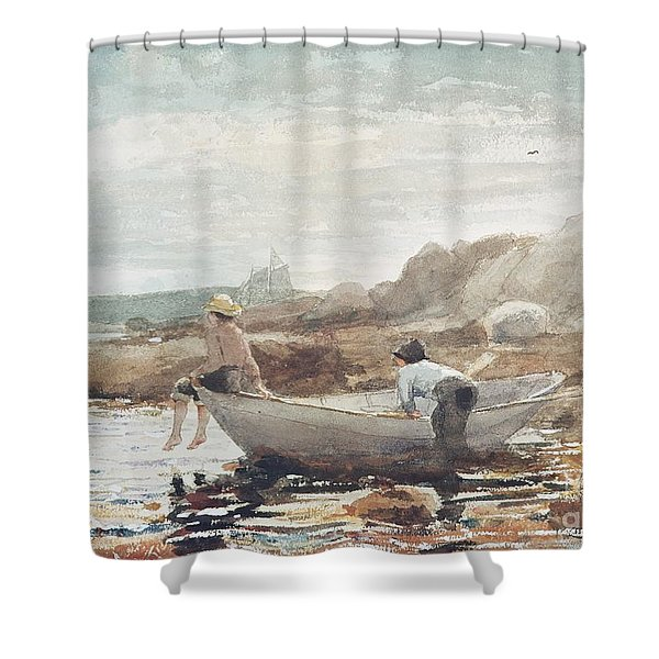 Boys On The Beach Shower Curtain