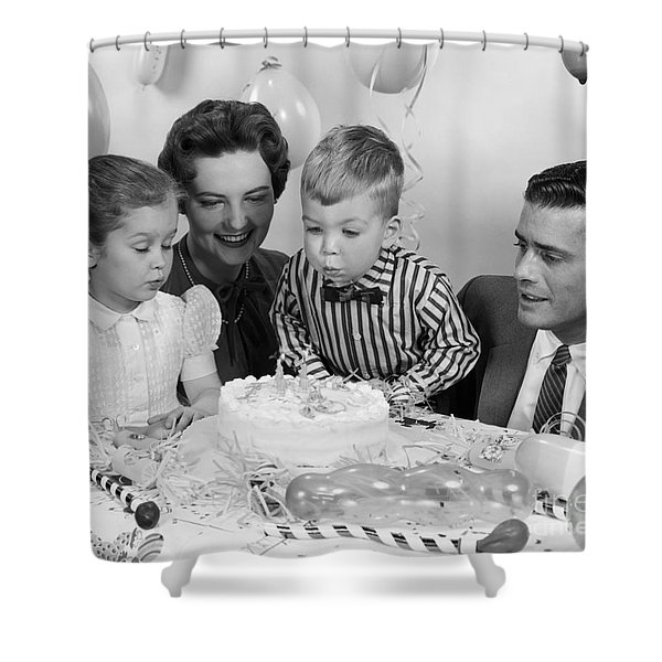 Boys Second Birthday Party, C.1950s Shower Curtain