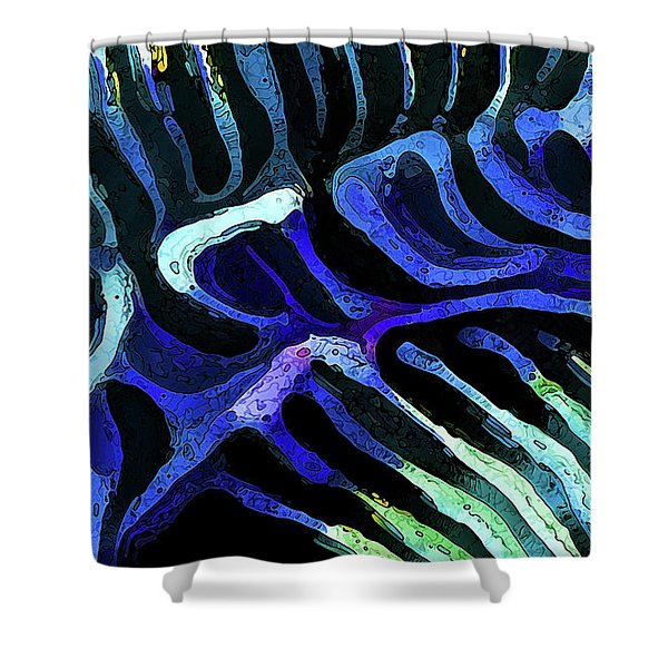 Brain Coral Abstract 3 In Blue Shower Curtain