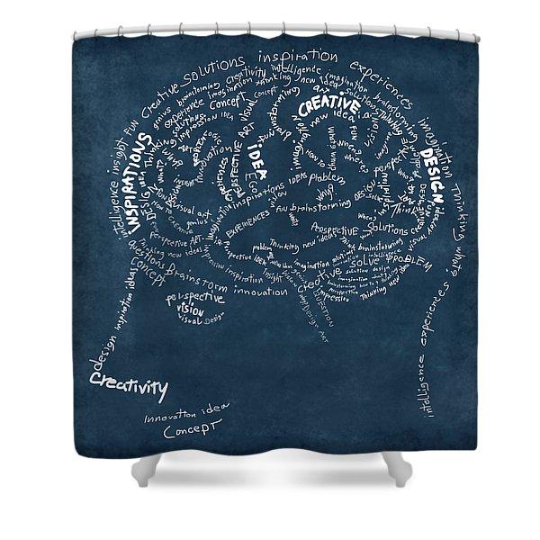 Brain Drawing On Chalkboard Shower Curtain