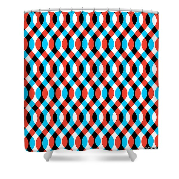 Brain Waves - Blue Shower Curtain