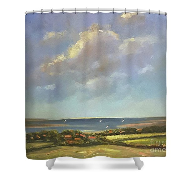 Shower Curtain featuring the painting Brancaster Staithes, Norfolk by Genevieve Brown