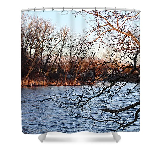Branches Over Water Shower Curtain