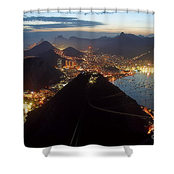 Shower Curtain featuring the photograph Brasil,rio De Janeiro,pao De Acucar,viewpoint,panoramic View,copacabana At Night by Juergen Held
