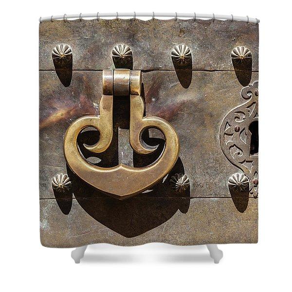 Brass Castle Knocker Shower Curtain