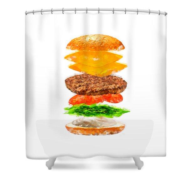 Brazilian Salad Cheeseburger Shower Curtain
