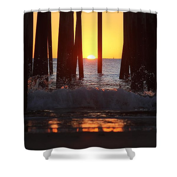 Breaking Dawn At The Pier Shower Curtain