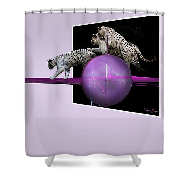 Breaking Out White Tigers Shower Curtain