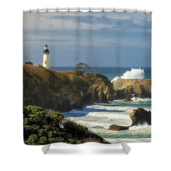 Breaking Waves At Yaquina Head Lighthouse Shower Curtain