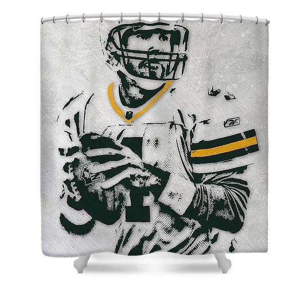 Brett Favre Green Bay Packers Pixel Art Shower Curtain
