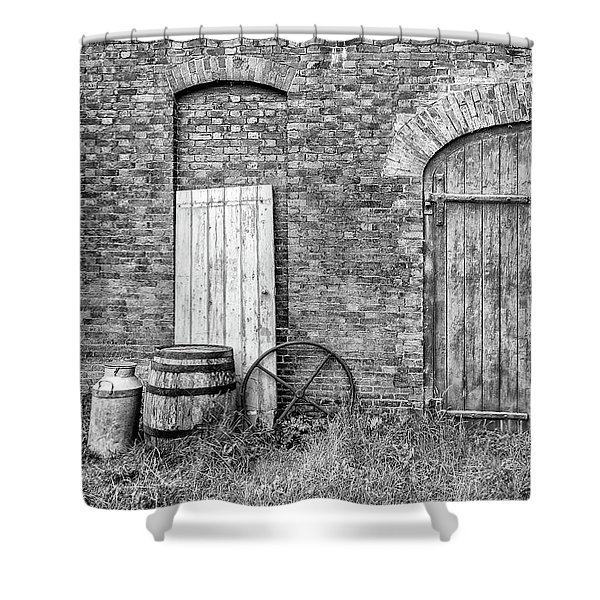 Shower Curtain featuring the photograph Brewhouse Door by Nick Bywater