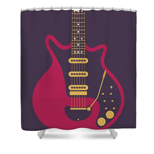 Red Special Guitar - Black Shower Curtain