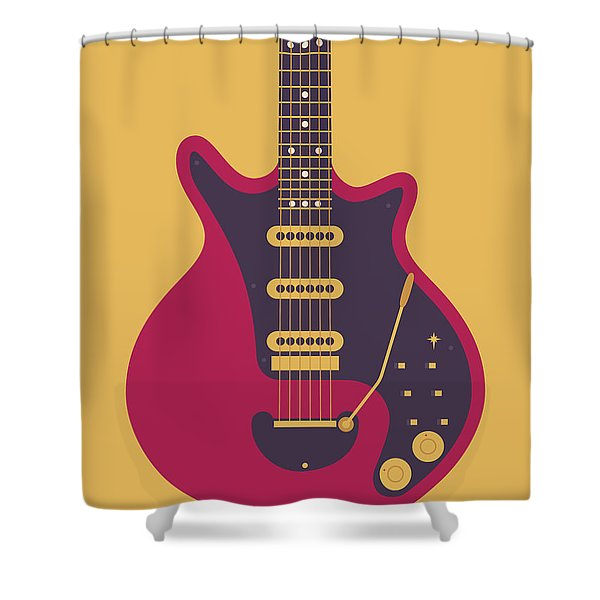 Red Special Guitar - Gold Shower Curtain