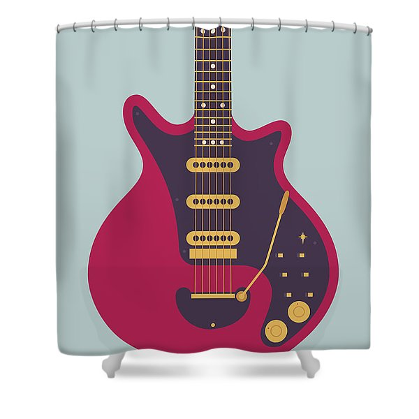 Red Special Guitar - Grey Shower Curtain