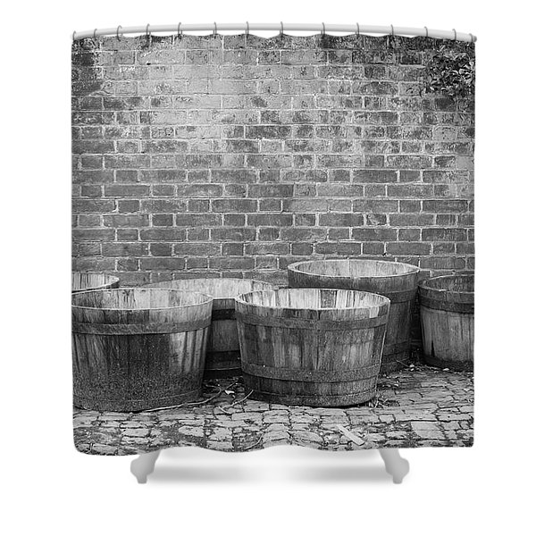 Brick Wall And Barrels B W Shower Curtain