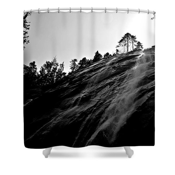 Bridal Veil Falls In Black And White Shower Curtain
