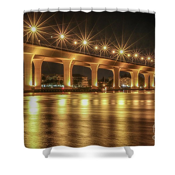 Shower Curtain featuring the photograph Bridge And Golden Water by Tom Claud
