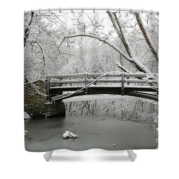 Bridge In Winter Shower Curtain