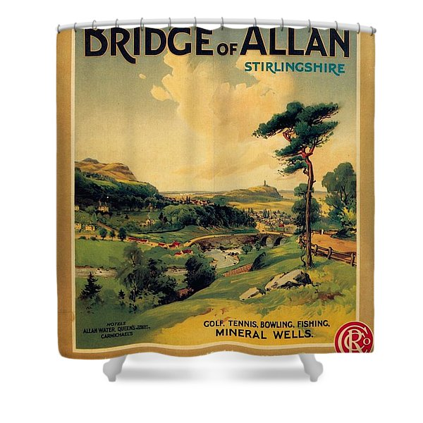 Bridge Of Allan, Stirlingshire - The Caledonian Railway - Retro Travel Poster - Vintage Poster Shower Curtain