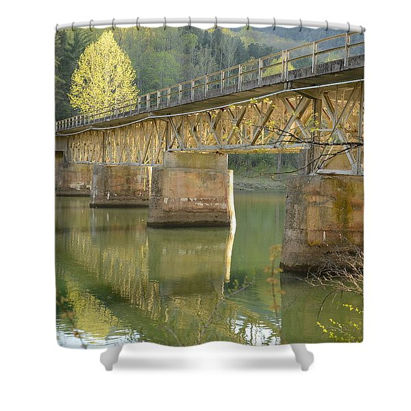 Bridge Over Calm Water Shower Curtain