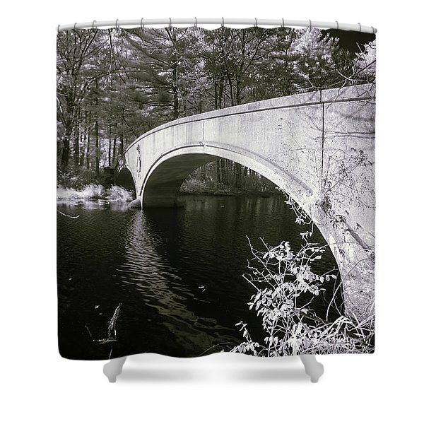 Bridge Over Infrared Waters Shower Curtain