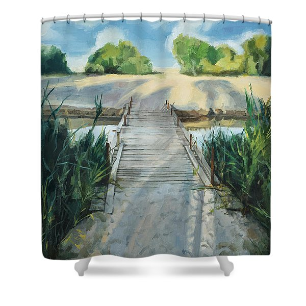 Bridge To Beach Shower Curtain