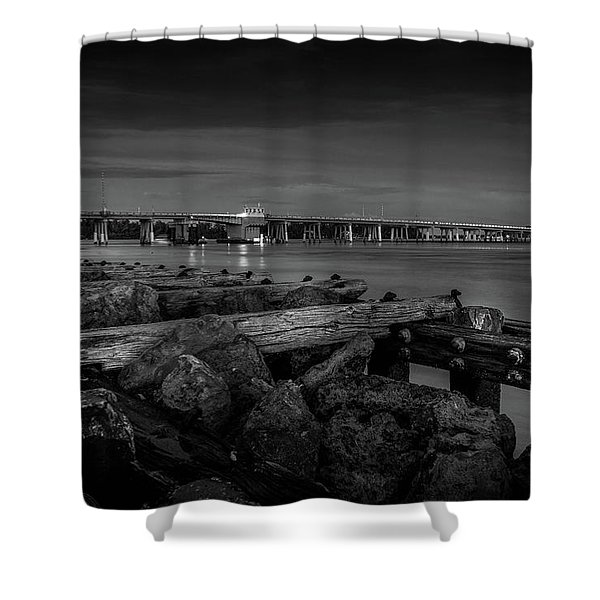 Bridge To Longboat Key In Bw Shower Curtain