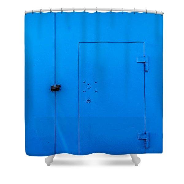 Bright Blue Locked Door And Padlock Shower Curtain