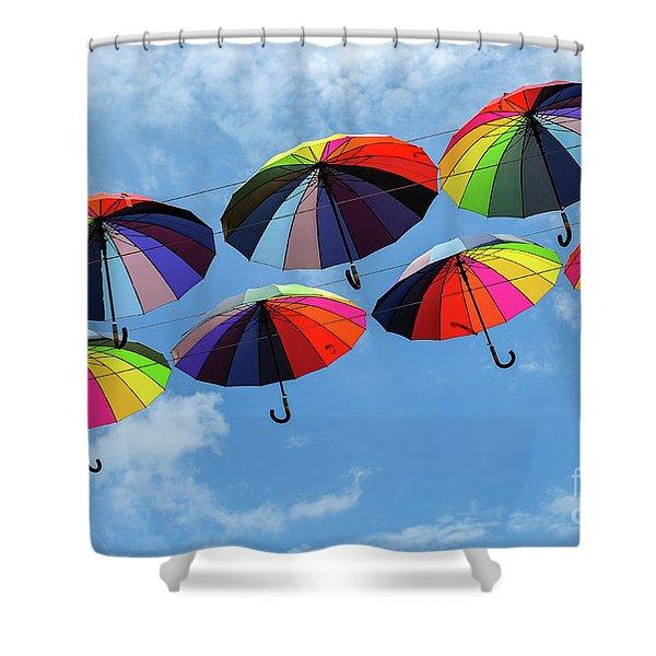 Bright Colorful Umbrellas  Shower Curtain