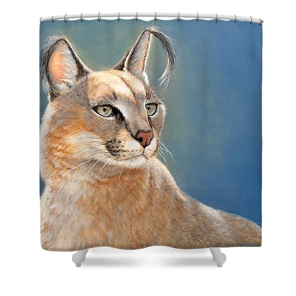 Bright Eyes - Caracal Shower Curtain