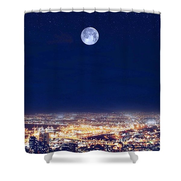 Shower Curtain featuring the digital art Bright Lights Big City by Mark Taylor