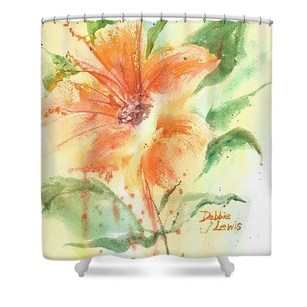 Bright Orange Flower Shower Curtain
