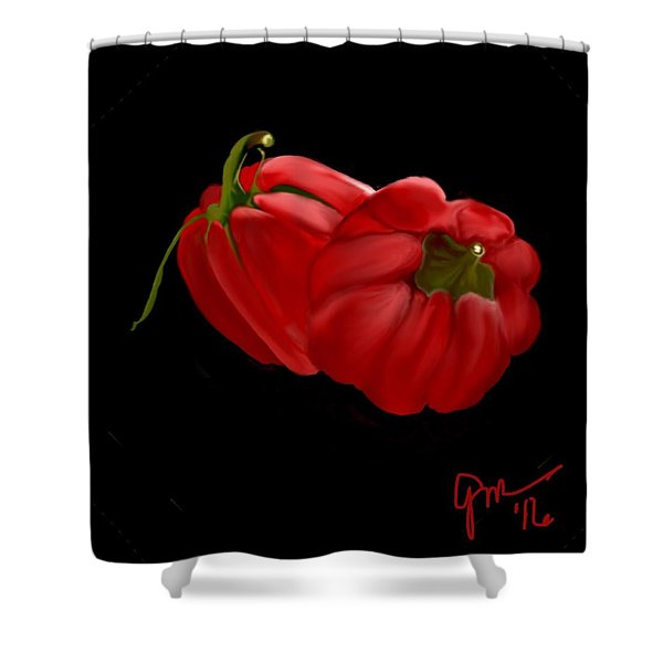 Bright Red Peppers Shower Curtain