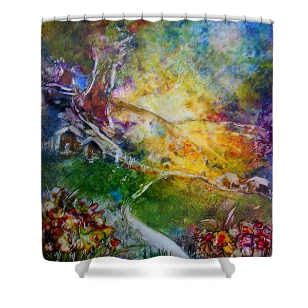 Shower Curtain featuring the painting Bright Shiny Day by Deborah Nell