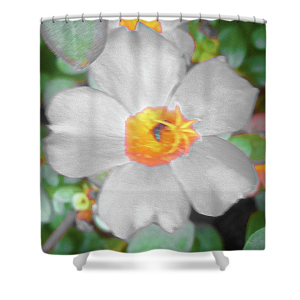 Bright White Vinca With Soft Green Shower Curtain