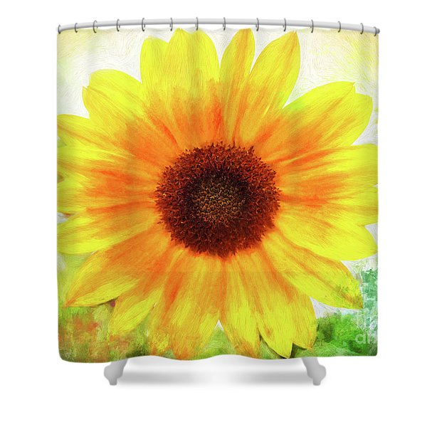 Bright Yellow Sunflower - Painted Summer Sunshine Shower Curtain