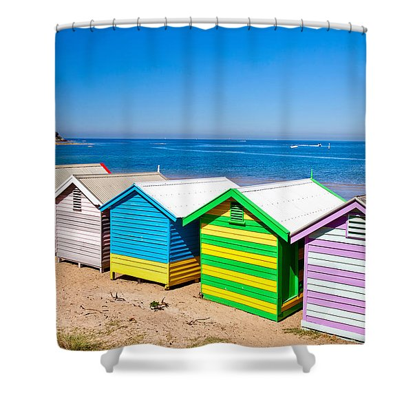 Brighton Beach Huts Shower Curtain